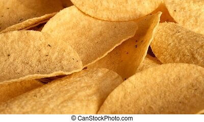 Classic potatoe chips - Macro of potatoe chips on the...