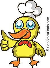 caricatura, niños, diseño, cocina, pato