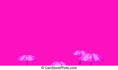 Rising Pink Umbrellas On Pink Background - 3DCG render...