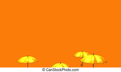 Rising Orange Umbrellas On Orange Background - 3DCG render...