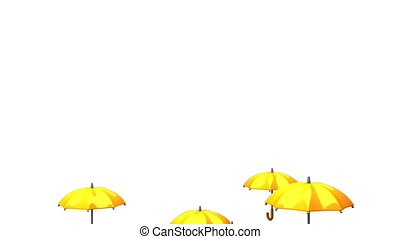 Rising Orange Umbrellas On White Background - 3DCG render...
