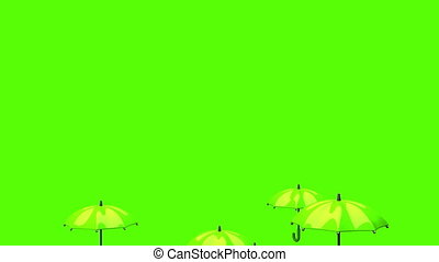 Rising Green Umbrellas On Green Background - 3DCG render...