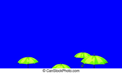 Rising Green Umbrellas On Blue Chroma Key - 3DCG render...