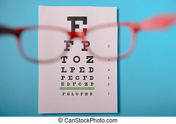 glasses lying on snellen test chart - close up view of...