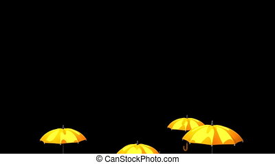 Rising Orange Umbrellas On Black Background - 3DCG render...