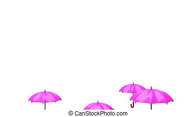 Rising Pink Umbrellas On White Background