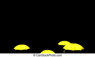 Rising Yellow Umbrellas On Black Background - 3DCG render...