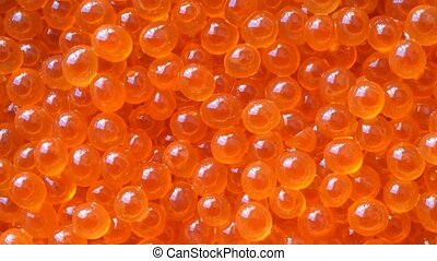 Fresh salmon caviar - Fresh salmon red caviar on the...