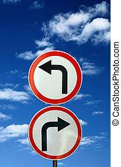 dos, contrario, camino, señales, contra, azul, cielo,...