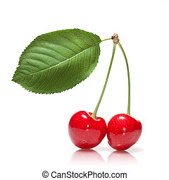 red cherry with leaf isolated on white