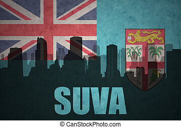 abstract silhouette of the city with text Suva at the...