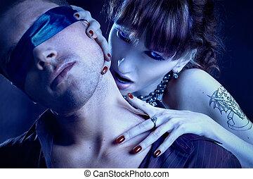 femme, vampire, morsures, bandé yeux, homme