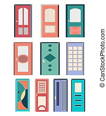 collection of colorful front doors