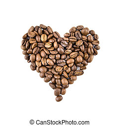 heart from coffee beans isolated on white