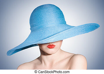 retrato, atractivo, elegante, mujer, azul, sombrero