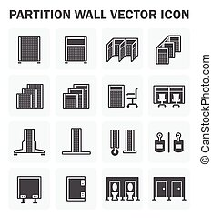 Partition wall icon - Vector icon of partition wall for...