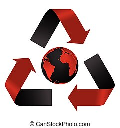 Abstract pollution threat, recycle logo and globe