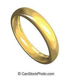 isolated wedding ring in gold (3D)