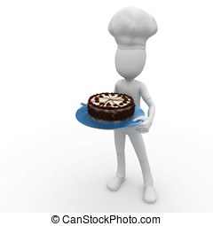 3d man chef with cake