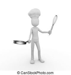 3d man chef with whisk and frying pan