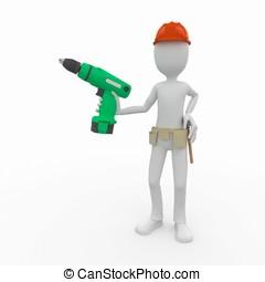 uomo,  3D, lavoratore, trapano, cordone