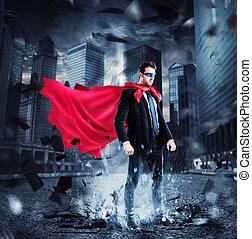 City superhero - Businessman with a superhero cape and mask...