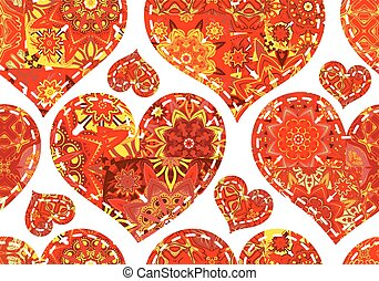 Seamless pattern with red patchwork hearts. Beautiful valentine background with vintage elements. Vector illustration.