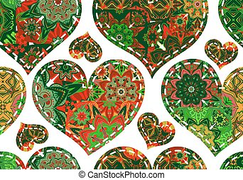 Seamless pattern with patcwork hearts. Beautiful valentine background with green vintage elements. Vector illustration