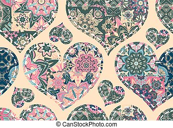 Seamless pattern with patchwork hearts. Beautiful valentine background with pastel vintage elements. Vector illustration
