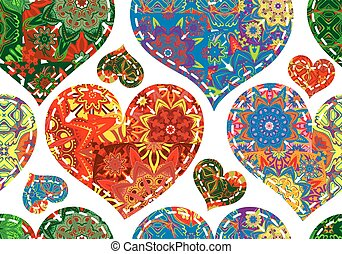 Patchwork hearts. Seamless pattern. Scrapbooking series. Vector background.