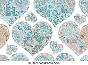 Seamless pattern with patcwork blue pastel hearts. Beautiful...
