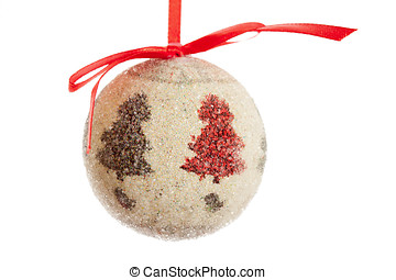 Christmas ball decoration with red ribbon isolated on white background