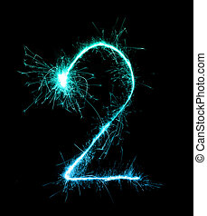 2.Digit two made of firework sparklers at night