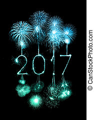 2017 Happy New Year firework sparklers at night