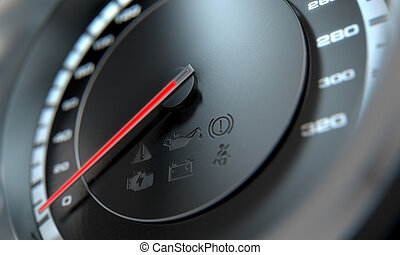 Speedometer - A 3D render of a regular speedometer with a...