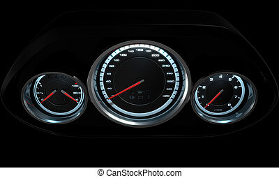 Car Dashboard - A 3D render of a sporty car dashboard with a...