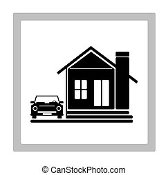 Hime Icon Design - Beauty Home With Car Icon,illustration...