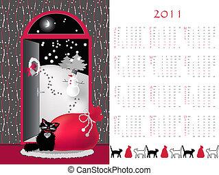 calendar 2011 - Double-sided calendar 2011, vector...