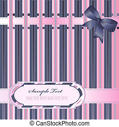 Decorative striped background with ribbon, bow and label