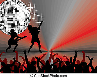 music event - vector illustration of disco girls playing the...