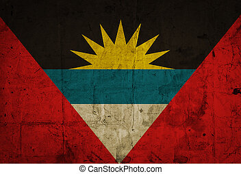 Antigua and Barbuda Flag on old paper