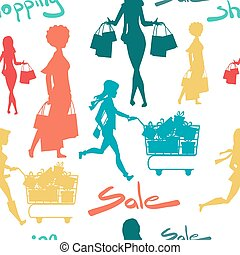 Seamless pattern cartoon slim woman silhouette with shopping bags