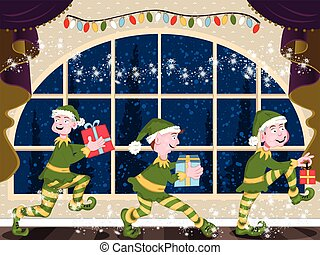 Christmas elves - Three magic Christmas elves is sneaking...