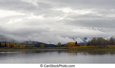 Grand Teton National Park Fall Colors pan right - Autumn in...