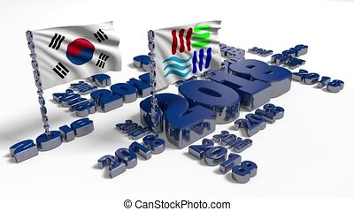 2018 Korean and PyeongChang flags with white background -...