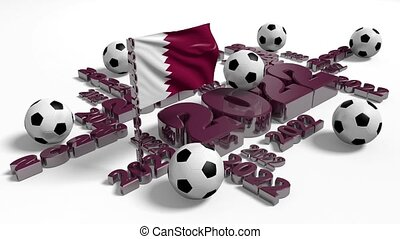 Football 2022 with Qatar Flag and some Balls - Football 2022...