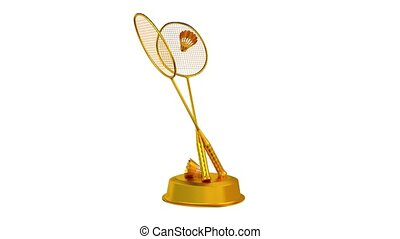 Badminton trophy in Gold with a white background - Badminton...