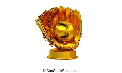 Baseball trophy in Gold with white background - Baseball...