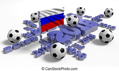 2018 Russian Flag in the Wind with Footballs
