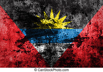 Antigua and Barbuda Flag on dirty paper